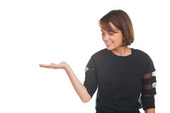 Girl showing something Royalty Free Stock Image