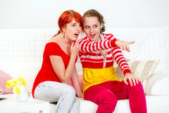 Girl showing something to her girlfriend Stock Image