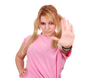 Girl showing stop hand Royalty Free Stock Photos