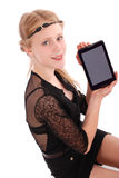 Girl showing tablet pc Royalty Free Stock Image