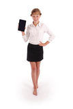Girl showing tablet pc by one hand Stock Photography