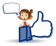 Girl showing thumb picture Stock Photo