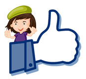Girl showing thumb picture Stock Images
