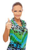 Girl showing thumb up Stock Photo