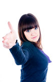 Girl showing thumb up gesture Stock Photos