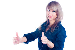 Girl showing thumb up gesture Stock Image