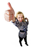 Girl Showing Thumb up. Isolated fisheye photo Royalty Free Stock Photography