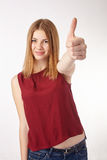 Girl Showing Thumb up. Stock Photo