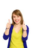 Girl showing thumbs up Royalty Free Stock Photography
