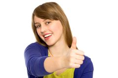 Girl showing thumbs up Stock Image