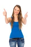 Girl showing thumbs up Stock Photography