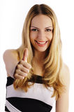 Girl showing thumbs up Stock Photos