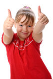 Girl showing thumbs up gesture isolated on white. Portrait of pre-teen girl performing the thumbs up gesture isolated on white background Stock Photos