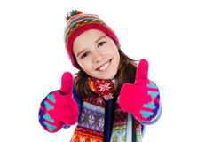 Girl showing thumbs up isolated one white Royalty Free Stock Photos
