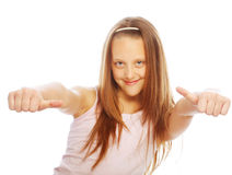 Girl showing thumbs up isolated one white Royalty Free Stock Photography