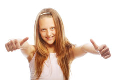 Girl showing thumbs up isolated one white Royalty Free Stock Images
