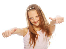 Girl showing thumbs up isolated one white Stock Photography
