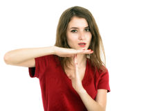 Girl showing time out sign Royalty Free Stock Photos