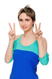 Girl showing victory sign Royalty Free Stock Images