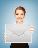 Girl showing virtual envelope Stock Images