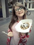 Girl showing waffel Royalty Free Stock Photos