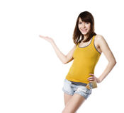 Girl showing on white Stock Photography
