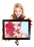 Girl showing woman with cream on tablet. Skin care Stock Image