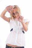 Girl showng frame Stock Image