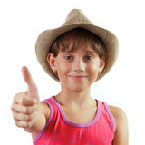 Girl shows that all is well Royalty Free Stock Image
