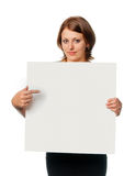 Girl shows blank board Royalty Free Stock Photography