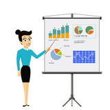 Girl shows on a board financial graphs and charts. Business repo Royalty Free Stock Photo
