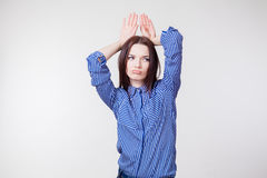 Girl shows Bunny hands. Beautiful girl shows Bunny hands Stock Photography