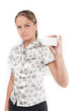 Girl shows business a card Stock Image