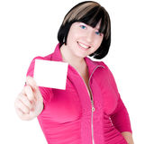 Girl shows card Stock Images