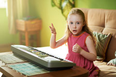 Girl shows displeasure gesticulating. And complaining Royalty Free Stock Image