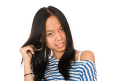 Girl shows earrings Royalty Free Stock Photo