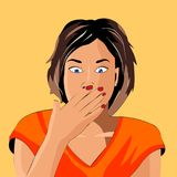 The girl shows emotion, terror. Vector illustration of comic style, the girl with short hair and in an orange t-shirt, shows emotion, is terrible Royalty Free Stock Photography