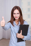 Girl shows that everything is OK Stock Photos