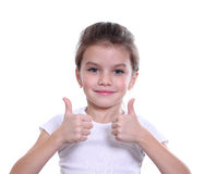 Girl shows finger as sign that everything is fine Royalty Free Stock Photography