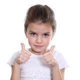 Girl shows finger as sign that everything is fine Stock Photo