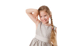 Girl shows a finger down. Isolated on white background stock photo