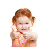Girl shows fingers Royalty Free Stock Image