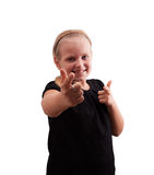 Girl shows fingers Royalty Free Stock Photography