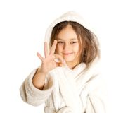 Girl shows gesture that all is well Stock Image