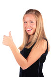 Girl shows gesture Ok Stock Photo