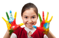 Little girl with her hands painted Royalty Free Stock Photo