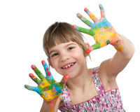 Little girl with her hands painted Stock Photography