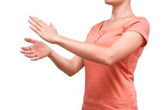 Girl shows her hand gesture applause. Isolated on white background Royalty Free Stock Images