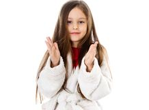 Girl shows her hands. Little cute girl shows her hands Royalty Free Stock Photo