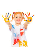 The girl shows her palms Stock Image
